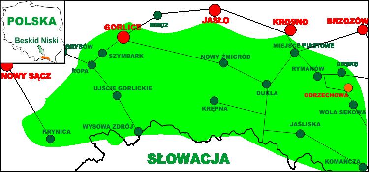 Схематична карта, яка показує розташування Низького Бескиду на території Польщі, а також села Оджехова в Низькому Бескиді
